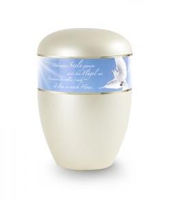 Urnen online Shop Auswahl: Urne champagner Perlmutt Motiv Blauer Himmel weiße Taube Trauertext