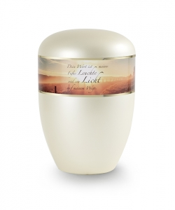 Urnen online Shop Auswahl: Urne Champagner Perlmutt Dekor Sonnenaufgang mit Trauertext