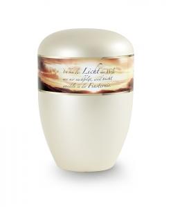 Urnen online Shop Auswahl: Urne Trauertext in Perlmutt Champagner Motiv Sonnenuntergang