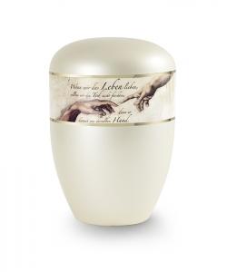 Urnen online Shop Auswahl: Urne Trauertext in Perlmutt Champagner Motiv Michelangelo