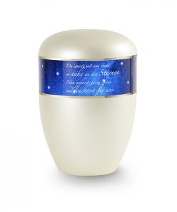 Urnen online Shop Auswahl: Urne Sternenhimmel in Perlmutt Champagner mit Poesiespruch