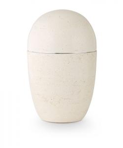 Urne oval weißer Kunststein