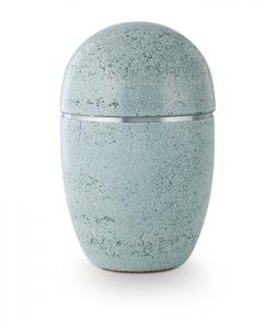 Urne oval blau-grüner Kunststein