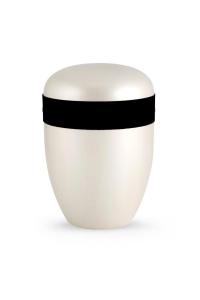 Urnen online Shop Auswahl: Urne Satin weiß Samtzierband schwarz