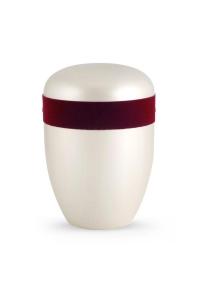 Urnen online Shop Auswahl: Urne Satin weiß Samtzierband weinrot