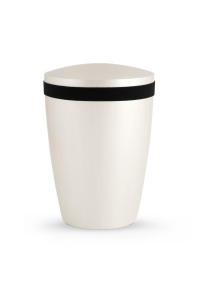 Urnen online Shop Auswahl: Urne Satin weiß schmales Samtzierband schwarz