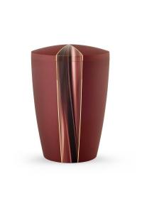 Urnen online Shop Auswahl: Urne rot schimmernd Kaskade Motiv