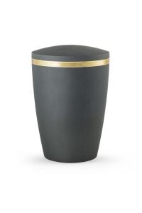 Design Urne grau schimmernd Goldstreifen