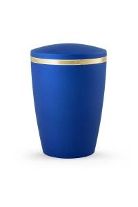 Design Urne blau schimmernd Goldstreifen