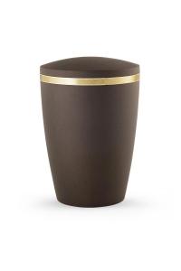 Design Urne braun schimmernd Goldstreifen