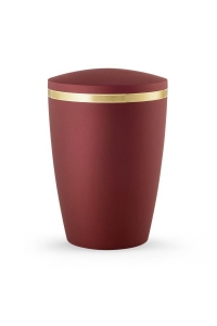 Urnen online Shop Auswahl: Design Urne rot schimmernd Goldstreifen