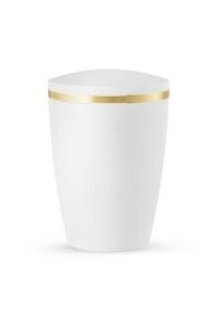 Urnen online Shop Auswahl: Design Urne Kreideweiß schimmernd Goldstreifen