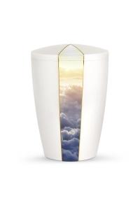 Urnen online Shop Auswahl: Urne weiß Perlmutt Firmament Wolken