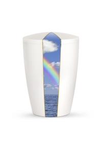 Urnen online Shop Auswahl: Urne weiß Perlmutt Firmament Regenbogen
