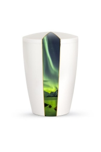Urnen online Shop Auswahl: Urne weiß Perlmutt Firmament Nordlicht