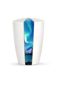 Urnen online Shop Auswahl: Urne weiß Perlmutt Firmament Polarlicht