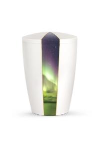 Urnen online Shop Auswahl: Urne weiß Perlmutt Firmament Polarleuchten